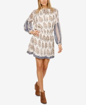 MIXED-PRINT PEASANT DRESS