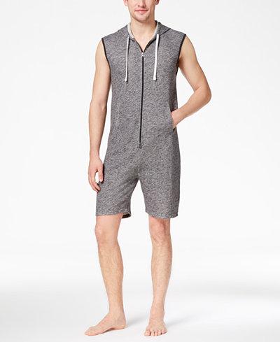 Bar III Men's Zip Short Hooded Jumpsuit Pajamas, Created for Macy's