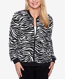 Alfred Dunner Upper East Side Zebra-Print Bomber Jacket