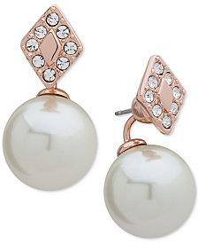 Ivanka Trump Rose Gold-Tone Pavé & Imitation Pearl Jacket Earrings