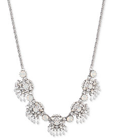 "Marchesa Silver-Tone Crystal & Imitation Pearl Cluster Collar Necklace, 16"" + 3"" extender"