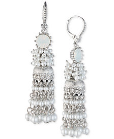 Marchesa Silver-Tone Imitation Pearl & Crystal Drop Earrings