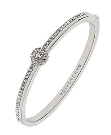 Crystal Flower Hinged Bangle Bracelet