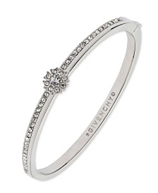 Givenchy Crystal Flower Hinged Bangle Bracelet