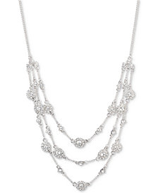 "Givenchy Crystal Multi-Row Statement Necklace, 16"" + 3"" extender"