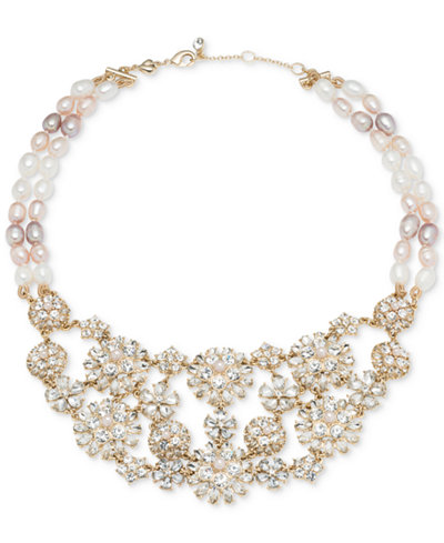 Carolee Gold-Tone Crystal & Pink Imitation Pearl Flower Statement Necklace 16
