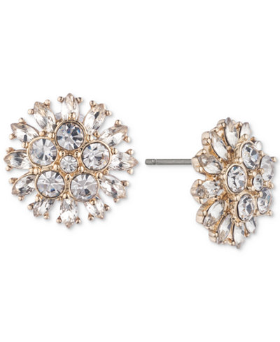 Carolee Gold-Tone Crystal Flower Stud Earrings