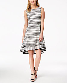 Taylor Textured-Stripe Fit & Flare Dress