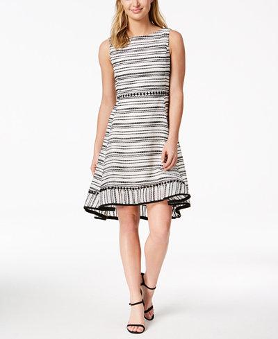 Taylor Textured-Stripe Fit & Flare Dress