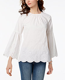 MICHAEL Michael Kors Embroidered Eyelet Top