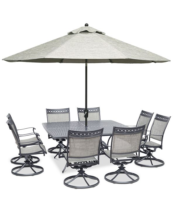 """Furniture Vintage II Outdoor Aluminum 9-Pc. Dining Set (64"""" Square Dining Table & 8 Swivel Rockers), Created for Macy's"""
