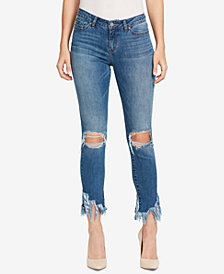 WILLIAM RAST Ripped Fringe-Hem Skinny Jeans