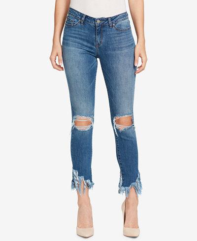 WILLIAM RAST Ripped Fringe-Hem Skinny Jeans