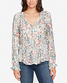 WILLIAM RAST Printed Peplum Peasant Top