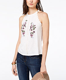 American Rag Juniors' Floral-Embroidered Top, Created for Macy's