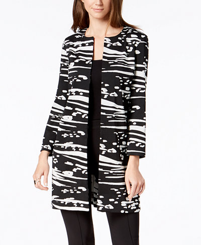 Alfani Collarless Textured Jacket, Created for Macy's
