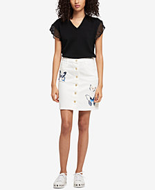 DKNY Embroidered Denim Skirt, Created for Macy's