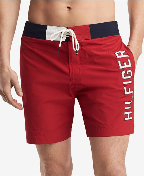 "Tommy Hilfiger Men's Colorblocked Seaboard 7"" Board Shorts, Created for Macy's"