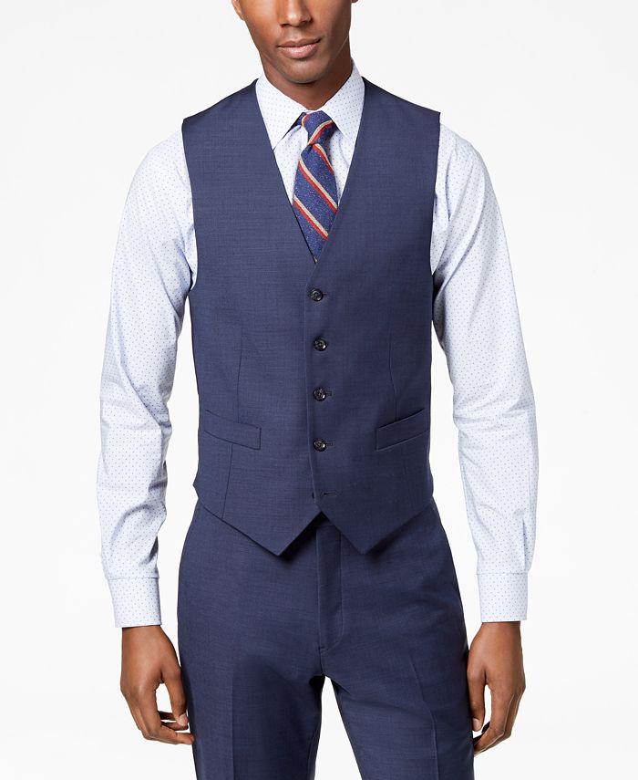 Tommy Hilfiger - Men's Modern-Fit Flex Stretch Blue Sharkskin Suit Vest