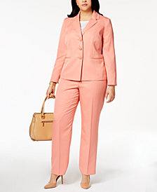 Le Suit Plus Size Striped Three-Button Pantsuit