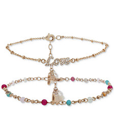 lonna & lilly Gold-Tone 2-Pc. Set Pavé, Multicolor Bead & Tassel Anklets, Created for Macy's