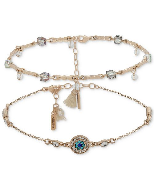 lonna & lilly Gold-Tone 2-Pc. Set Crystal, Bead & Tassel Anklets, Created for Macy's