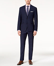 CLOSEOUT! Vince Camuto Men's Coolmax Slim-Fit Stretch Navy Plaid Suit