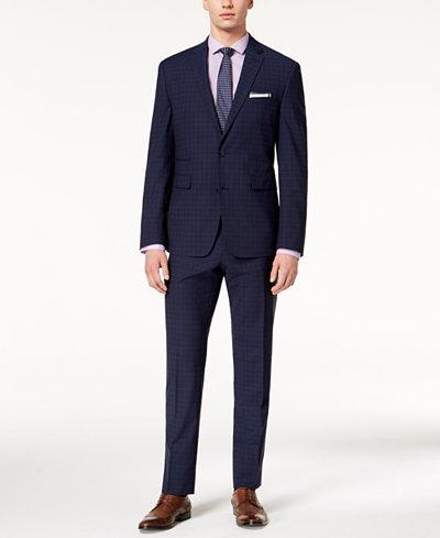 Vince Camuto Men's Coolmax Slim-Fit Stretch Navy Plaid Suit