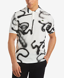 Lacoste Men's LIVE Graffiti-Print Mini-Piqué Polo