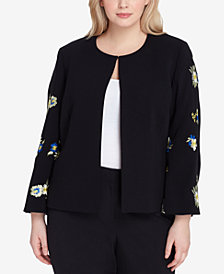 Tahari ASL Plus Size Embroidered Blazer