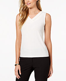 Tahari ASL Petite Shirred V-Neck Top