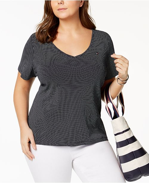 c4cd566d2 ... Tommy Hilfiger Plus Size Polka Dot Cotton V-Neck T-Shirt, Created for  ...