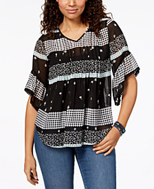 Style & Co Petite Mixed-Print Pintucked Top, Created for Macy's