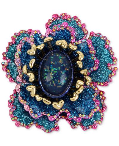 Betsey Johnson Gold-Tone Multi-Stone & Glitter Flower Pin