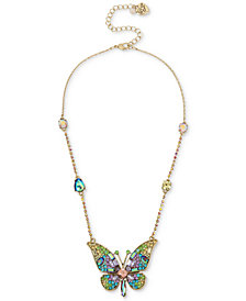"Betsey Johnson Gold-Tone Crystal & Pavé Butterfly Pendant Necklace, 15"" + 3"" extender"