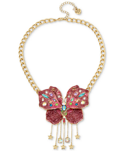 Betsey Johnson Gold-Tone Glittery Butterfly Collar Necklace, 16