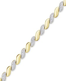 Diamond Accent San Marco Link Bracelet in 18k Gold-Plate & Silver-Plate