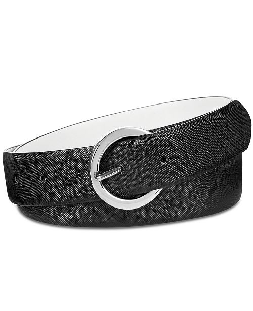 Steve Madden Saffiano Plus-Size Reversible Belt