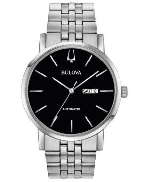 BULOVA Men'S Automatic American Clipper Stainless Steel Bracelet Watch 42Mm in Black/Silver