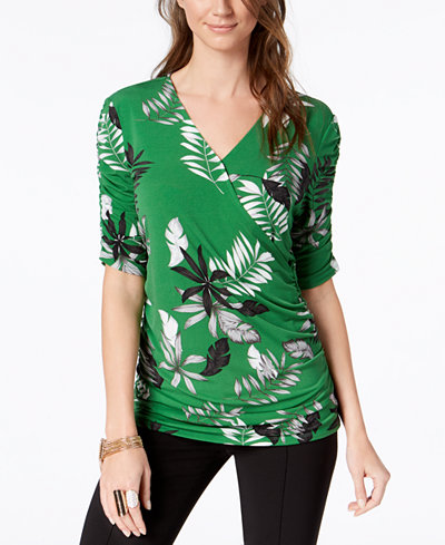 Alfani Petite Printed Ruched Surplice Top, Created for Macy's