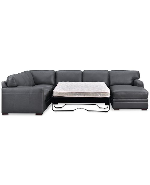 Avenell 3-Pc. Leather Sectional with Full Sleeper Sofa & Chaise, Created  for Macy\'s