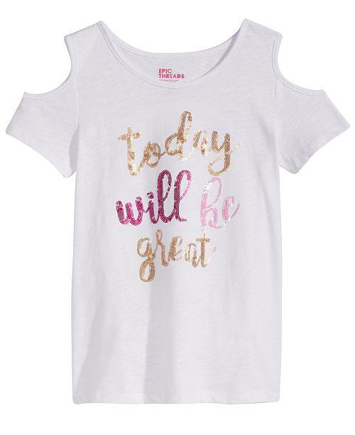 Epic Threads Sequin Cold Shoulder T-Shirt, Big Girls