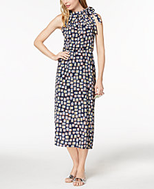 Maison Jules Printed Tie-Neck Halter Dress, Created for Macy's