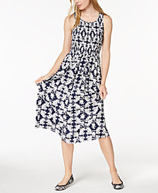 Maison Jules Smocked Midi Dress, Created for Macy's
