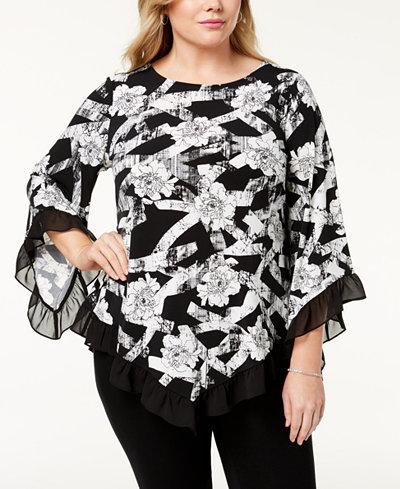 Alfani Plus Size Ruffled Pointed-Hem Top, Created for Macy's