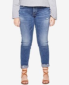 Silver Jeans Co. Plus Size Sam Distressed Boyfriend-Fit Jeans