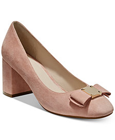 Cole Haan Tali Bow Block-Heel Pumps
