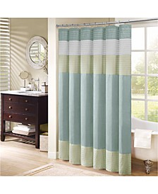"Amherst 72"" x 72"" Colorblocked Faux-Silk Shower Curtain"