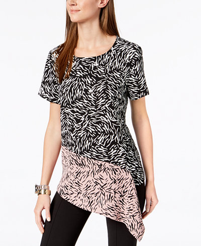 Alfani Printed Asymmetrical Draped Top, Created For Macy's