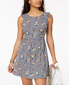 Sequin Hearts Juniors' Printed Tie-Back Dress
